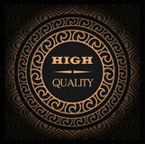 Cool vector vintage golden label for design and logo with signature High Quality with seamless abstract pattern. And gradient Stock Photo