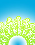 Cool vines nature abstract. Vector illustration of abstract vines forming a circular pattern. Gradient glowing sky in the background. Modern retro effect Stock Photo
