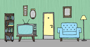 Cool vintage living room / Retro background Stock Images
