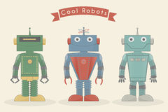 Cool vintage robots vector illustration royalty free stock images