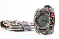 Cool watch and a purse Royalty Free Stock Image