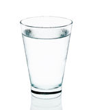 Cool water with glass isolated on the white background Stock Photos