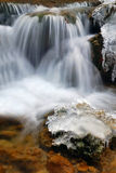 Cool waterfall. Soft waterfall with ice and snow Stock Images