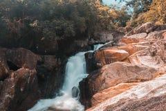 Waterfall landscape on Koh Phangan island. Cool waterfall on koh Phangan island with slow shutter speed. Fujifilm x-t1 royalty free stock photo