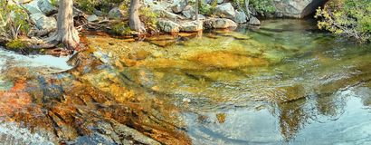 A panorama of a little pond near Lake Tahoe, California stock photos