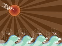 Cool waves and brown sun. Illustrated background Stock Photo