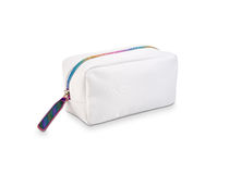 Cool white small bag with colored zipper Royalty Free Stock Photography