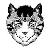 Cool wild cat Fashionable animal Hipster style Vintage illustration Image for tattoo, logo, emblem, badge design Royalty Free Stock Photo