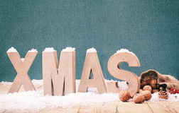 Cool winter Xmas background stock images