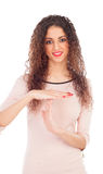 Cool woman with big eyes making the gesture of downtime Royalty Free Stock Images