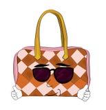 Cool woman handbag cartoon Royalty Free Stock Images