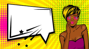Cool woman pop art comic text speech box royalty free illustration