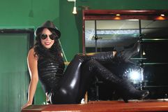 Cool woman posing in black leather Royalty Free Stock Photos