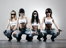 Cool women workers. Contrast colors Royalty Free Stock Images