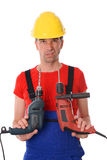 Cool worker with two drills Stock Image