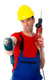 Cool worker with two drills Royalty Free Stock Photos