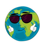Cool World globe cartoon Royalty Free Stock Image