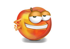 Cool yellow nectarine cartoon character, sly eyes vector illustration