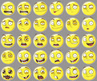 Cool yellow smilies emotions Set Royalty Free Stock Photo