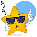 Cool Yellow Star Whistling with Sunglasses Royalty Free Stock Image