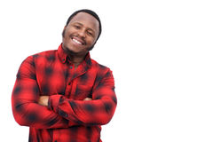 Cool young black man smiling with arms crossed Stock Photography
