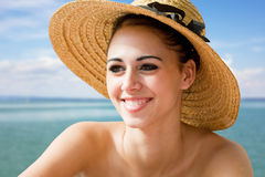 Cool young brunette on holiday. Stock Photos