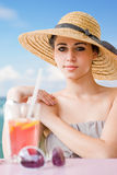 Cool young brunette on holiday. Royalty Free Stock Photos