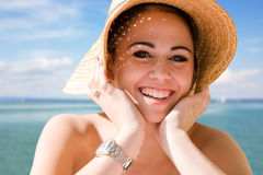 Cool young brunette on holiday. Royalty Free Stock Photo