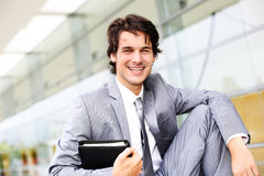 Cool young businessman royalty free stock image