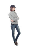 Cool young girl with blue jeans Stock Photos
