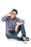 Cool young guy. Wearing glasses Royalty Free Stock Image