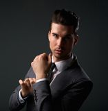 Cool young guy in modern business suit. Close up portrait of a cool young guy in modern business suit Royalty Free Stock Photo