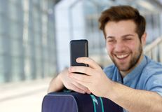 Cool young guy taking selfie with mobile phone Royalty Free Stock Photo