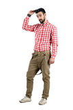 Cool young handsome hipster with flirting look Royalty Free Stock Photography