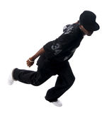 Cool young hip-hop man on white background. Cool young hip-hop dancer making a move Stock Photos