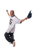 Cool young hip-hop man on white background. Cool young hip-hop dancer making a move Stock Image