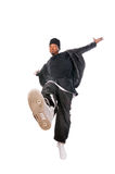 Cool young hip-hop man on white background. Cool young hip-hop dancer on white background Royalty Free Stock Image