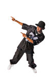 Cool young hip-hop man on white background. Cool young hip-hop dancer making a move Royalty Free Stock Photo