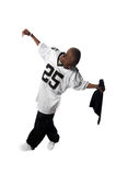 Cool young hip-hop man on white background. Cool young hip-hop dancer making a move Royalty Free Stock Photography