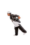 Cool young hip-hop man on white background. Cool young hip-hop dancer on white background Royalty Free Stock Photography