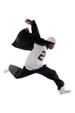 Cool young hip-hop man on white background. Cool young hip-hop dancer on white background Royalty Free Stock Photo