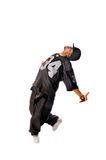 Cool young hip-hop man on white background. Cool young hip-hop dancer making a move Stock Images