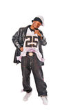 Cool young hip-hop man on white background. Cool young hip-hop dancer on white background Stock Photography