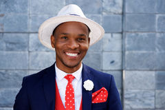 Cool young male african fashion model with hat Stock Images