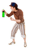 Cool young man with a green bottle Stock Photo