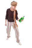 Cool young man with a green bottle Stock Photos