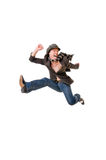Cool young man jumping Royalty Free Stock Image
