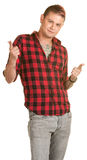 Cool Young Man Pointing Royalty Free Stock Photos