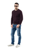 Cool young man in sweater and sunglasses with hands in pockets looking at camera Stock Photography