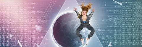 Cool young woman jumping with digital technology interface broken shapes. Digital composite of Cool young woman jumping with digital technology interface broken Stock Photo